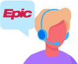 person with headset talking about Epic